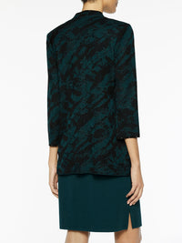 Grommet Trim Abstract Knit Jacket