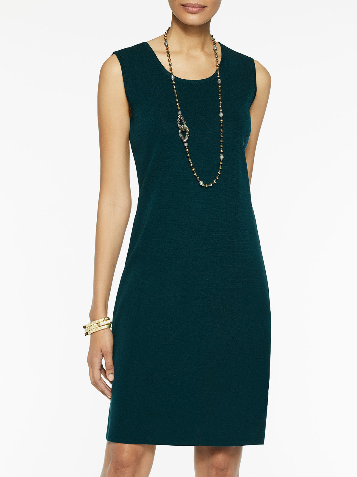 Sleeveless Sheath Knit Dress, Deep Teal