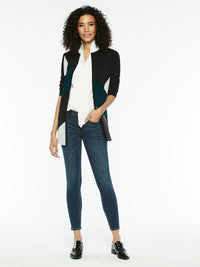 Colorblock Whipstitch Knit Jacket