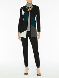 Plus Size Colorblock Whipstitch Knit Jacket