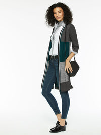 Plus Size Colorblock Knit Duster