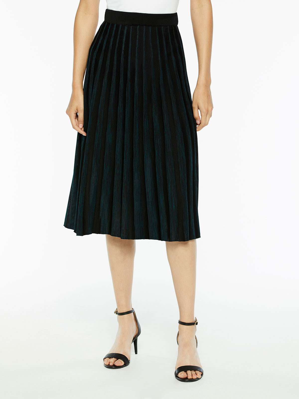 Crystal Pleated Knit A-Line Midi Skirt