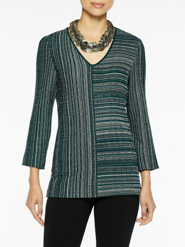 Striped Melange V-Neck Knit Tunic