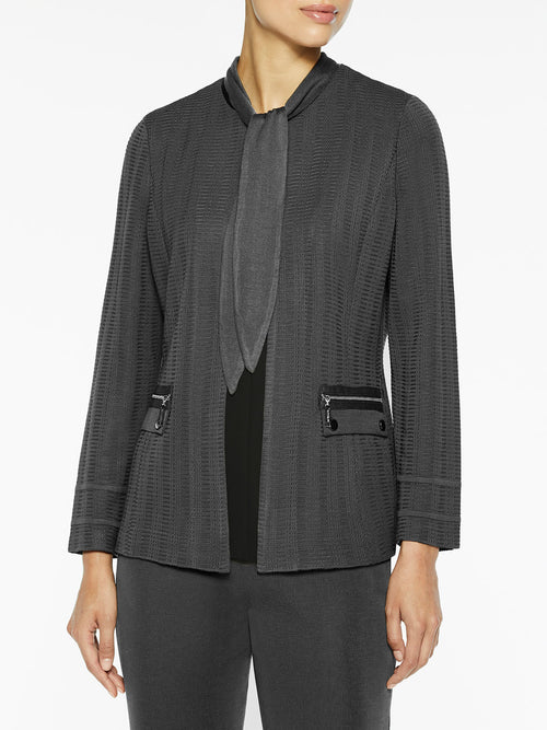 Plus Size Scarf Neck Textured Knit Jacket