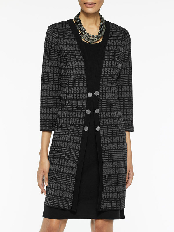 Plus Size Tonal Plaid Knit Duster