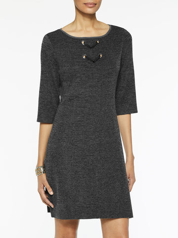 Lace Detail Melange Knit Sheath Dress