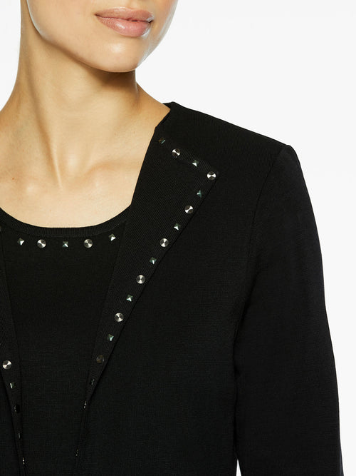 Studded Wing Collar Knit Jacket