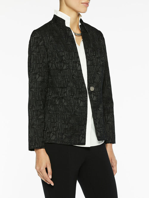 Satin and Velvet Dimensional Blazer-Misook