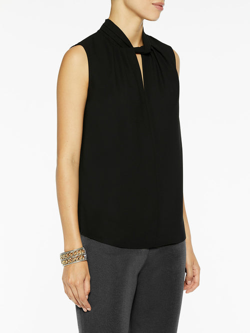 Sleeveless Twist Neck Crepe de Chine Blouse, Black