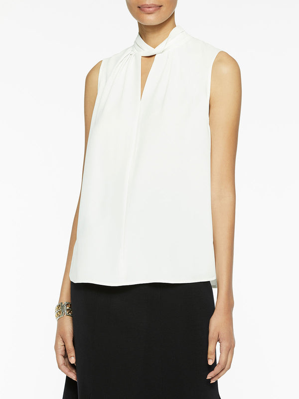 Sleeveless Twist Neck Crepe de Chine Blouse, White