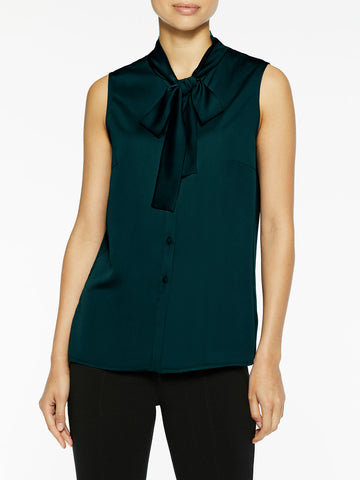 Tie Neck Crepe de Chine Blouse, Deep Teal