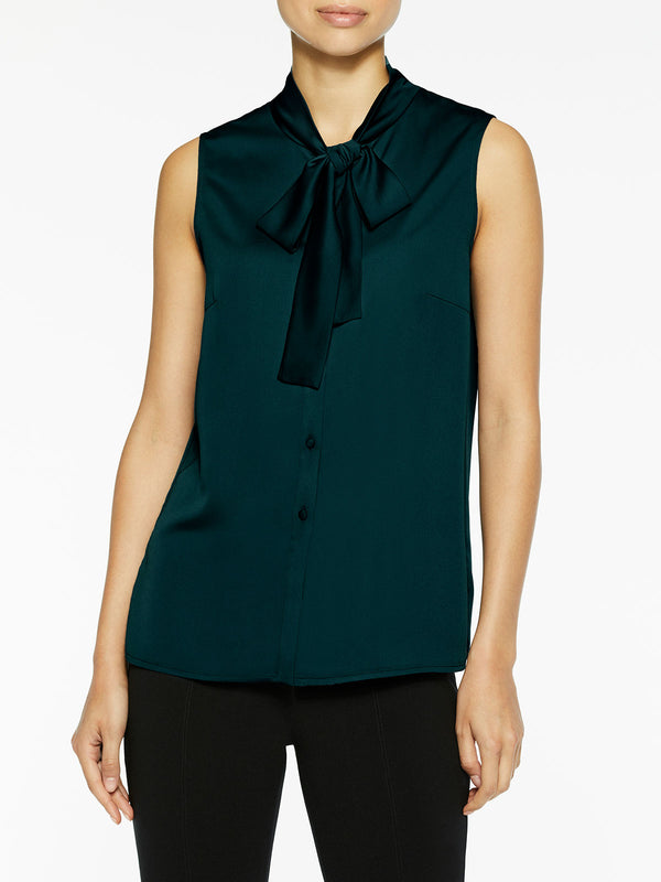 Tie-Neck Crepe de Chine Blouse, Deep Teal