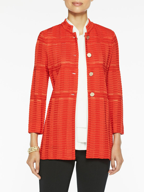 Mandarin Button-Front Knit Jacket Color Blood Orange