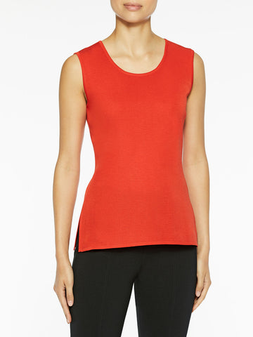 Plus Size Classic Knit Tank Top, Blood Orange