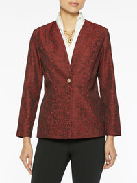 Wispy Pattern Woven Jacket Color Blood Orange/Black