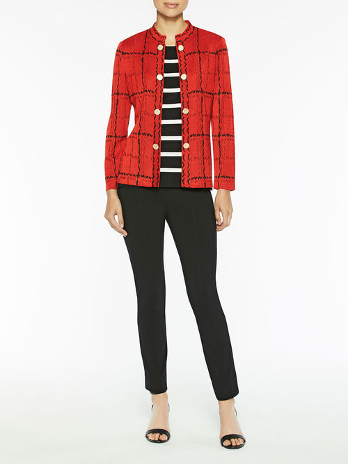 Grand Plaid Knit Jacket Color Blood Orange/Black
