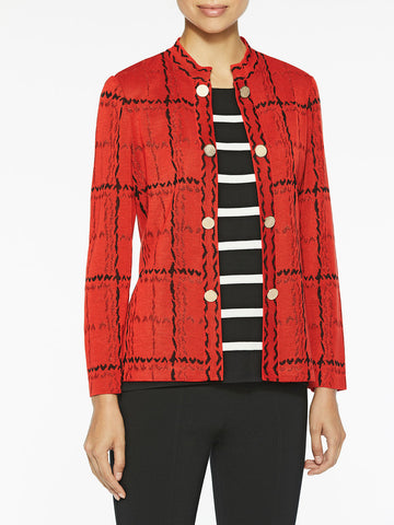 Plus Size Grand Plaid Knit Jacket