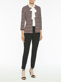 Graphic Check Jacquard Knit Jacket Color Black/Blood Orange/White