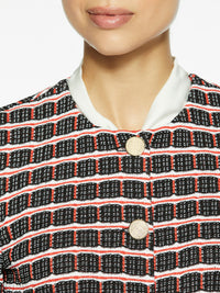 Graphic Check Jacquard Knit Jacket Color Black/Blood Orange/White Premium Details