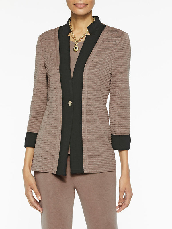 Plus Size Contrast Panel Knit Jacket Color Macchiato/Black
