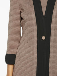 Contrast Panel Knit Jacket Color Macchiato/Black Premium Details