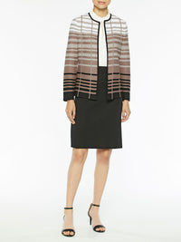Graduated Stripe Knit Jacket Color Ivory/Beige/Macchiato/Black