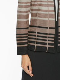 Graduated Stripe Knit Jacket Color Ivory/Beige/Macchiato/Black Premium Details