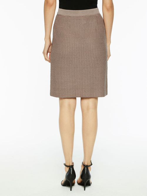 Modern Dimensional Straight Knit Skirt Color Macchiato