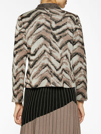 Zip-Up Tiger Pattern Knit Bomber Color Macchiato/Beige/Black