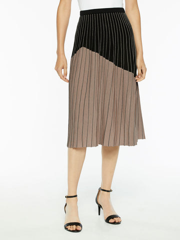 Two-Tone Crystal Pleated Knit A-Line Midi Skirt