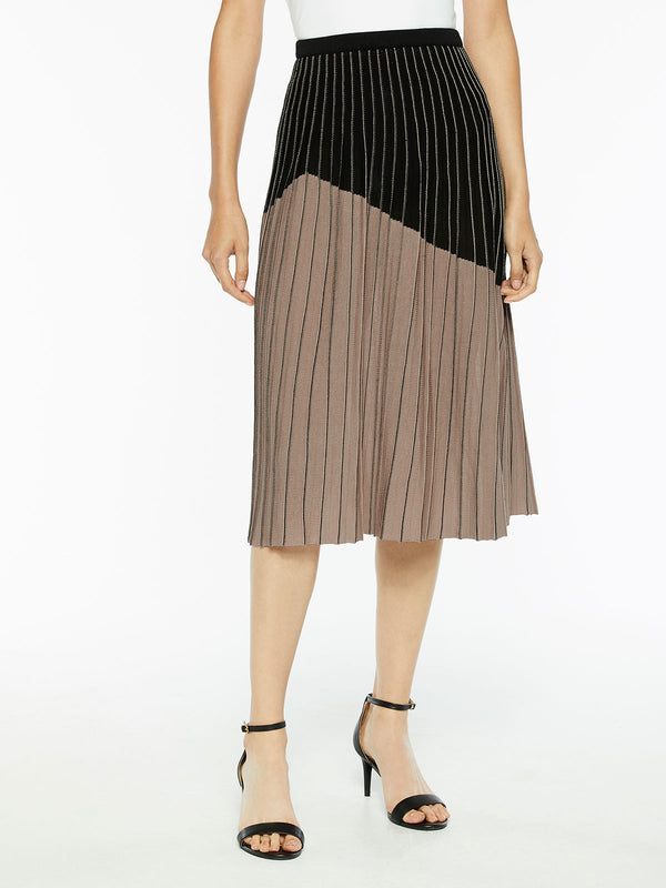 Two-Tone Crystal Pleated Knit A-Line Midi Skirt Color Macchiato/Black