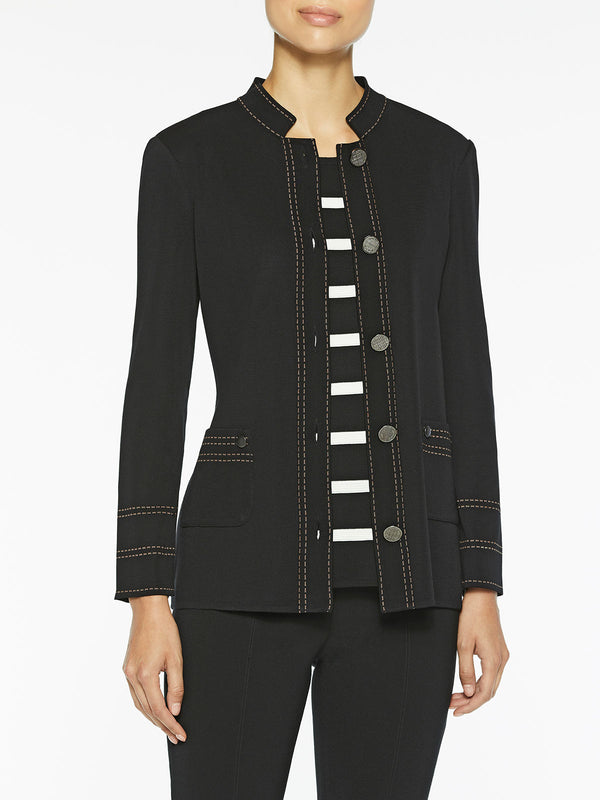Contrast Dash Trim Knit Jacket Color Black/Macchiato