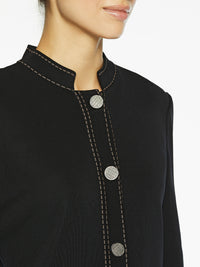 Contrast Dash Trim Knit Jacket Color Black/Macchiato Premium Details