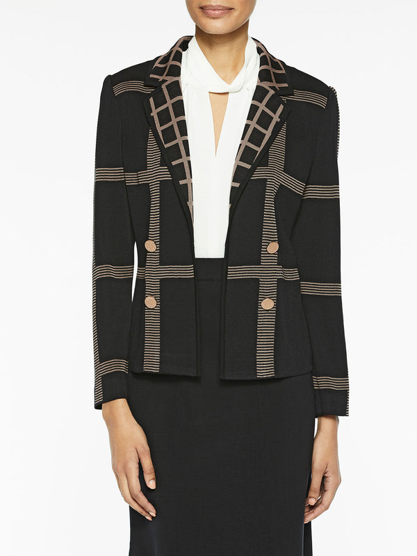 Plus Size Dual Windowpane Knit Blazer Color Black/Macchiato