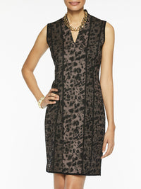 Leopard Pattern V-Neck Sheath Knit Dress Color Macchiato/Black