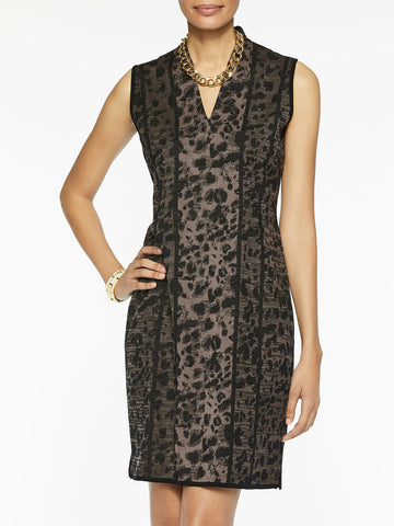 Leopard Pattern V-Neck Sheath Knit Dress