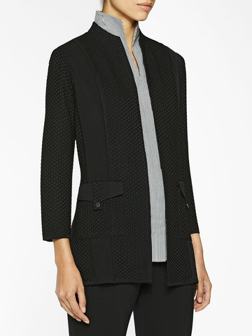 Mix Texture Panel Knit Jacket