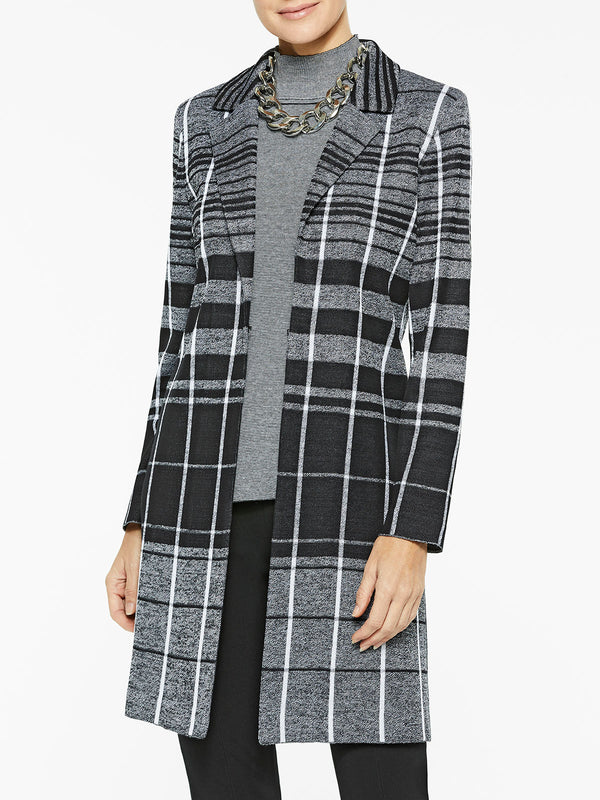 Shadow Plaid Knit Duster Color Black/White