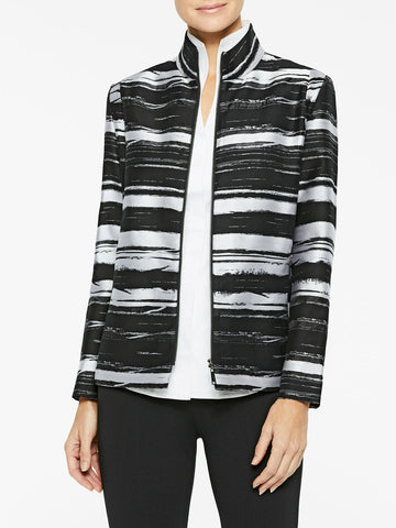 Abstract Stripe Cotton Blend Jacket