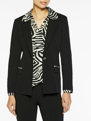 Zebra Trim Black Knit Blazer