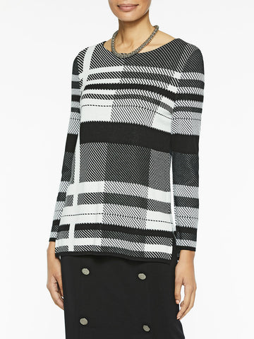 Graphic Plaid Knit Tunic