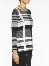 Graphic Plaid Knit Tunic Color Black/White