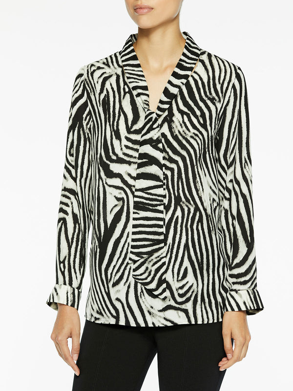 Zebra Print Tie-Neck Blouse Color White/Black