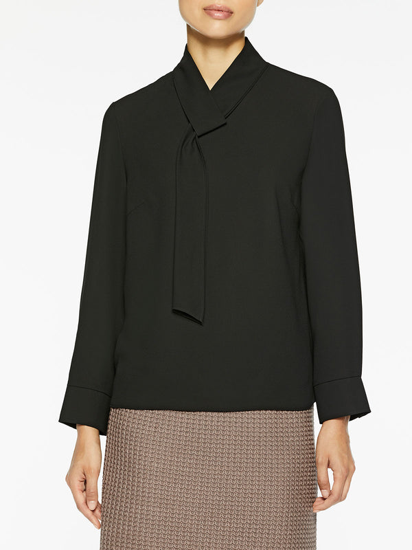 Loop and Tie Crepe de Chine Blouse Color Black