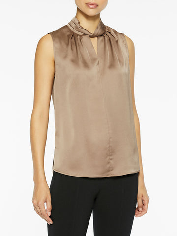 Sleeveless Twist Neck Charmeuse Blouse, Macchiato