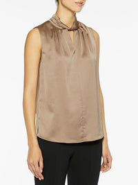 Sleeveless Twist Neck Charmeuse Blouse Color Macchiato Brown