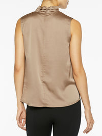 Sleeveless Twist Neck Charmeuse Blouse Macchiato Brown