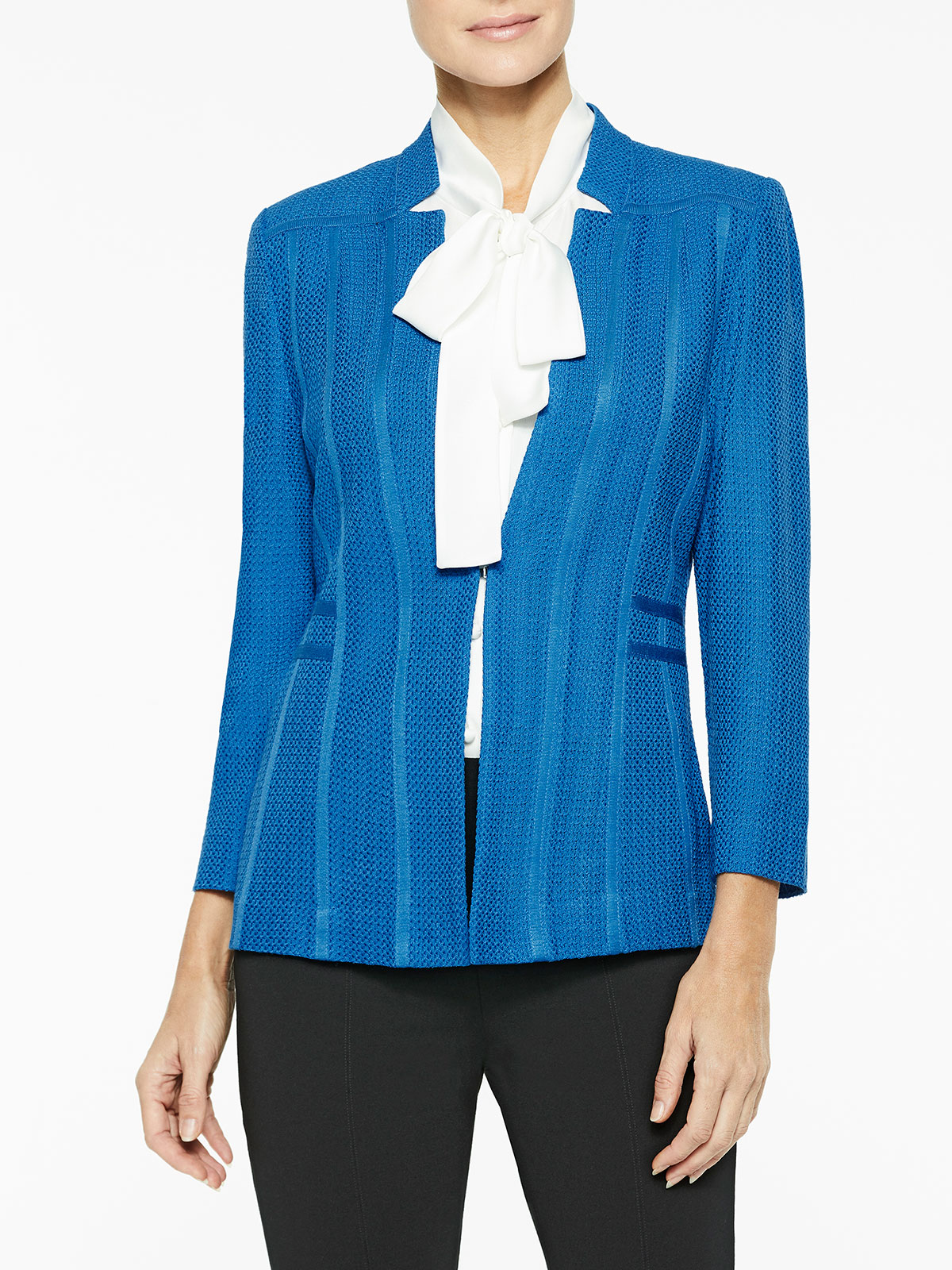 Plus Size Notched Collar Textured Knit Blazer Color Harbor Blue