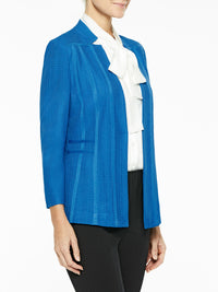 Notched Collar Textured Knit Blazer Color Harbor Blue