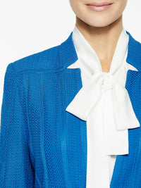 Notched Collar Textured Knit Blazer Color Harbor Blue Premium Details